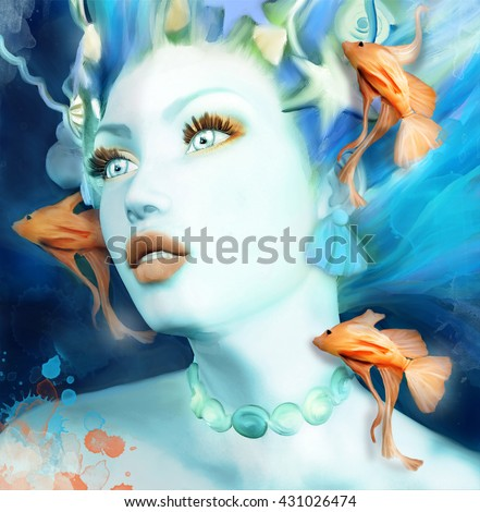 Mermaid portrait with orange fishes - 3D and watercolors illustration - stock photo