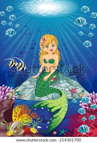 Mermaid sitting on the ocean floor - stock photo