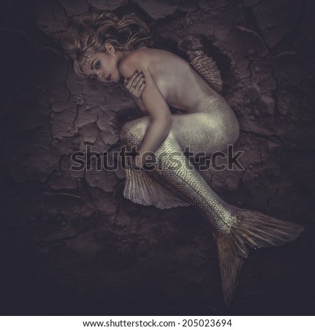 mermaid trapped in a sea of �¢??�¢??mud, concept fantasy fish woman with beautiful blond hair and her body scales - stock photo
