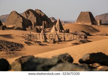Meroe pyramids in the sahara desert Sudan  - stock photo
