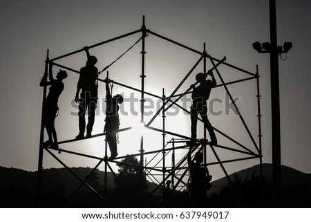 Meron ,Israel, MAY 09 2017-Workers prepare structures in preparation for the prayers to take place at gravesites of Jewish sages and rabbis,in  city of Meron, ahead of the Jewish holiday of Lag Baomer