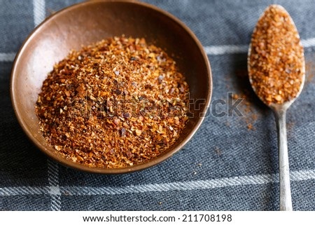 Merquen, a smoked chili pepper is a traditional condiment in Mapuche cuisine in Chile and other Andean regions. - stock photo