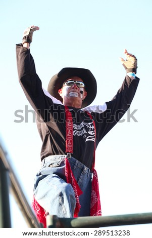 MERRITT, B.C. CANADA - May 30, 2015: Rodeo clown at The 3rd Annual Ty Pozzobon Invitational PBR Event. - stock photo