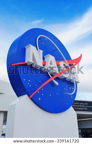 MERRITT ISLAND, FL - FEB 12: NASA logo in Kennedy Space Center on February 12, 2012 in Merritt Island, Florida. It is the launch site for every United States human space flight since 1968. - stock photo