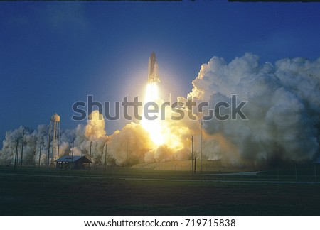 Merritt Island, Florida, USA, 28th April,1991 Space Shuttle Discovery lifts off from launch pad 39A on a column of fire enroute to low Earth obit Mission Department of Defense, AFP-675; IBSS; SPAS-II