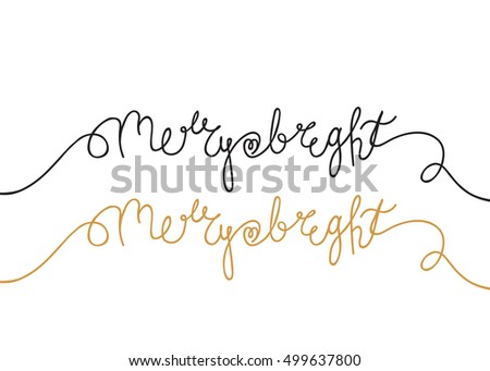 Merry and Bright hand lettering with heart. Warm Christmas holiday wish in black ink and gold. Perfect for postcard