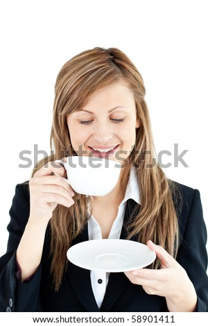 Merry businesswoman drinking a coffee against white background