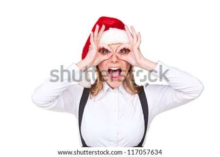 merry businesswoman in santa hat over white background