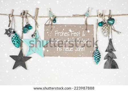 Merry christmas and a happy new year: xmas card with german text. - stock photo