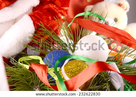 Merry Christmas and Happy New Year, balls and new year eve - stock photo