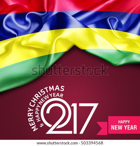 Merry Christmas and Happy new year 2017 banner background Mauritius flag