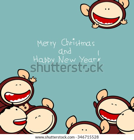 Merry Christmas and Happy New Year 2016 card with cute naughty Monkeys  - stock photo