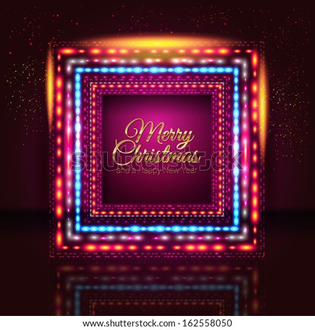 Merry Christmas and Happy New Year card with frame made of lights.  - stock photo
