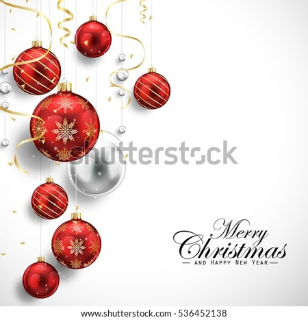Merry Christmas and Happy New Year card with red balls and gold streamers
