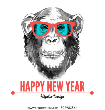 Merry Christmas and Happy New Year card with watercolor portrait of hipster monkey. Hand drawn illustration for fashion print, poster for textiles, fashion design and t-shirt graphics - stock photo