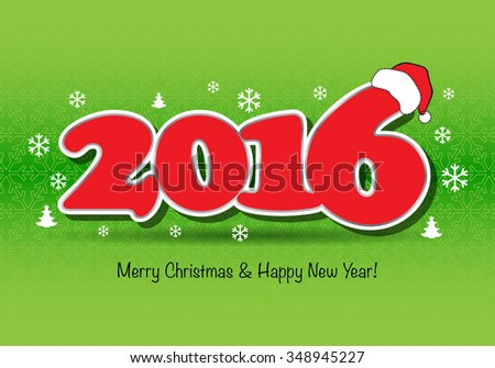 Merry Christmas and Happy New Year 2016 design