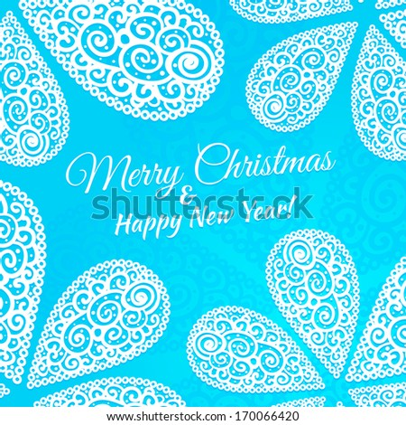 Merry Christmas and Happy New Year. Doodle twirls background