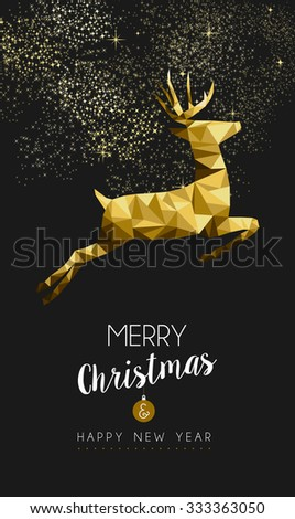 Merry christmas and happy new year fancy gold deer jumping in hipster triangle low poly style. Ideal for xmas card or elegant holiday party invitation. - stock photo