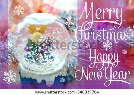 Merry Christmas and Happy New Year festive card with snow globe and Christmas-tree tinsel. Snow glass ball with moose toy. Colorful Christmas poster. Holiday greeting card. Cover, wrapper. - stock photo