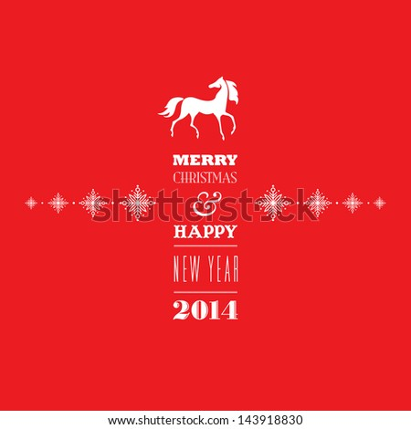 Merry Christmas and Happy new 2014 year. Greeting card. Elegant, stylish white 2014 horse symbol and greeting text on bright red background. Vector EPS 10 illustration included in my collection. - stock photo