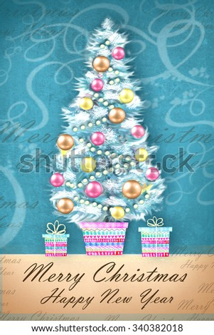 Merry Christmas and Happy New Year. Illustration of decorated Christmas tree in a flowerpot with gifts. Christmas greeting card poster banner. Winter background with isolated festive objects. - stock photo