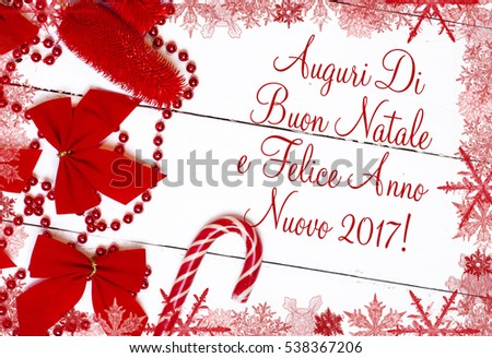 merry christmas and happy new year in italian language text card surrounded by a red frame - Merry Christmas And Happy New Year In Italian