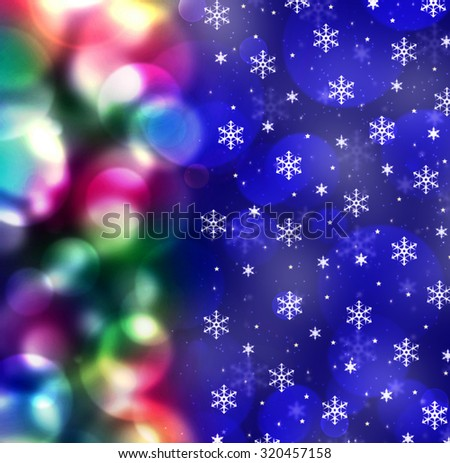 Merry Christmas and Happy New Year postcard. Beautiful Holidays background with snowflakes and light. Blue bokeh winter concept with New Year Tree lights. Defocused Christmas Tree and snow weather. - stock photo