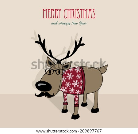 Merry Christmas and happy new year retro hipster reindeer in winter sweater cartoon greeting card.