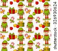 Merry Christmas and Happy New Year! Seamless pattern with elves and gifts on white background. Raster illustration. - stock photo