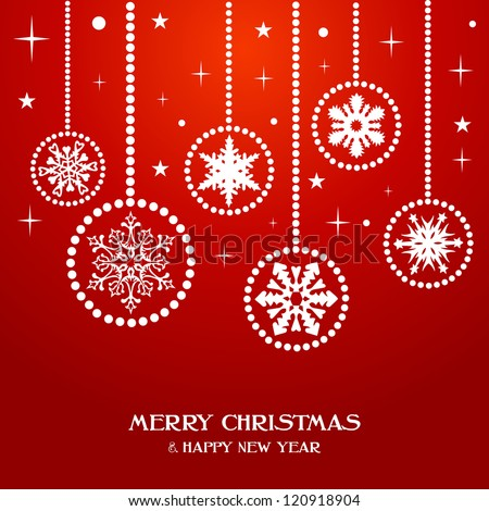 Merry Christmas and Happy new year snowflakes baubles over red background. - stock photo