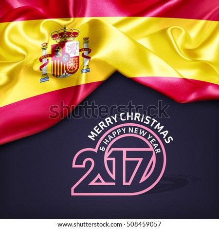 Merry Christmas and Happy new year 2017 Spain creative fabric background