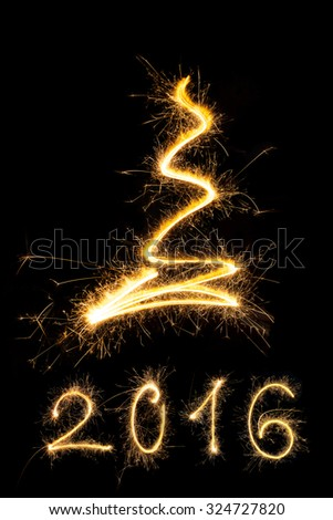 Merry christmas and happy new year 2016. Sparkling firework christmas and new year text on black background. Minimal abstract artistic style.