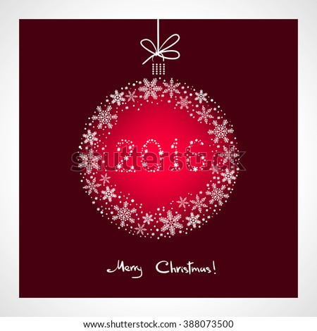Merry Christmas and Happy New Year 2016. stylized red ball with snowflakes. Season greeting card template - stock photo