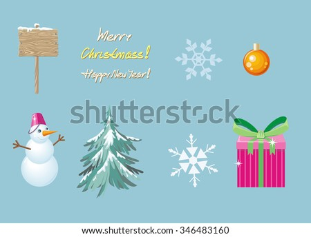 Merry christmas and happy new year. Wooden board, gift box, tree and snowflake, snowman and holiday, celebration and winter, creative banner illustration. Raster version - stock photo