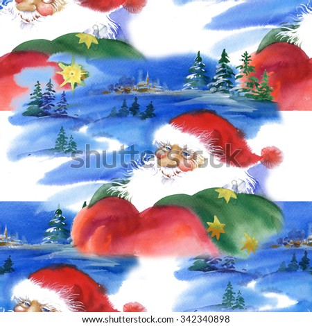 Merry Christmas and New Year card with Santa Claus, watercolor seamless pattern