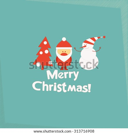 Merry Christmas and New Years Card with Santa Claus, Christmas Tree and Snowman.  - stock photo