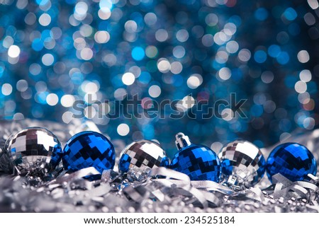 Merry Christmas background. Blue glass toys - stock photo