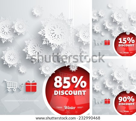 Merry Christmas background discount percent with snowflake and ball. Raster version - stock photo