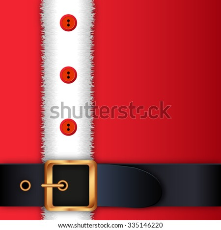 Merry Christmas background. Red Santa Claus suit, leather belt with gold buckle, white beard, concept for greeting or postal card, illustration Raster version.  - stock photo