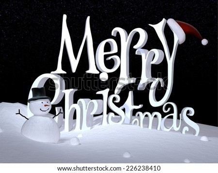 Merry Christmas Background - The words Merry Christmas on a snowy landscape with a snowman on a starry night. - stock photo