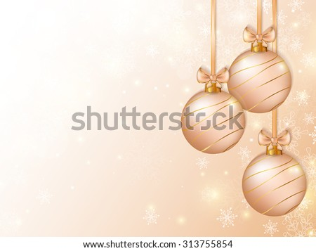Merry Christmas! Background with christmas balls and  clear space for text. Holiday banner. Raster illustration. - stock photo