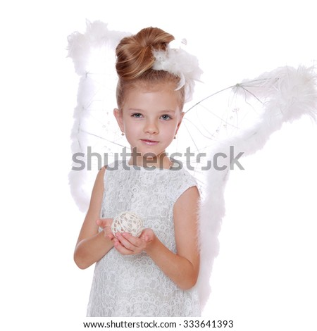 merry christmas background with little angel praying to god/Portrait of modern little angel on Christmas on Holiday theme