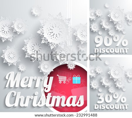 Merry Christmas Background with Snowflake and Ball. Discount concept set. Raster version. Raster version - stock photo