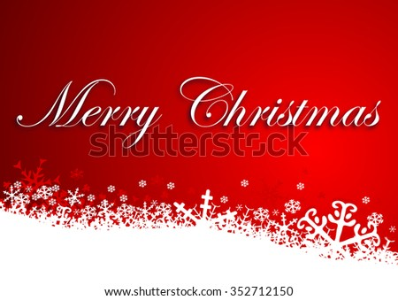merry christmas background with snowflakes - stock photo