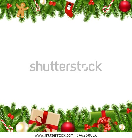 Merry Christmas Borders Stock Illustration 346258016