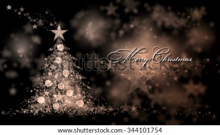 Merry Christmas. Brown background with a christmas tree and Merry Christmas Text - stock photo