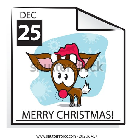 Merry Christmas calendar page with Red nosed Reindeer in a Santa hat