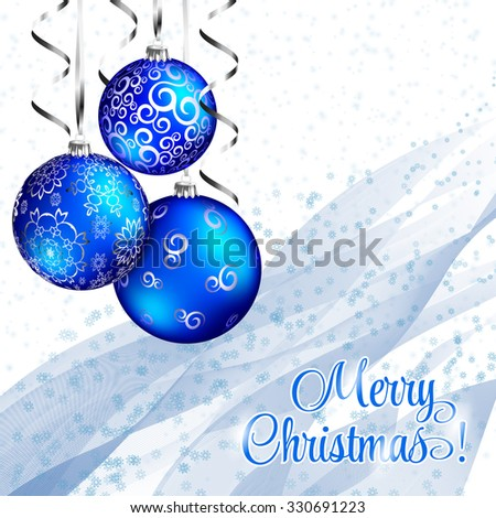 Merry Christmas card. Blue christmas balls, white background.