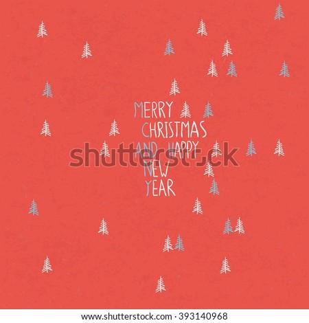 Merry Christmas Card Hand Drawn. Raster version - stock photo