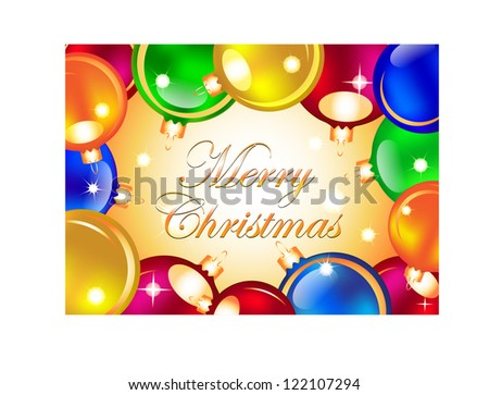 Merry Christmas card with colorful Christmas balls